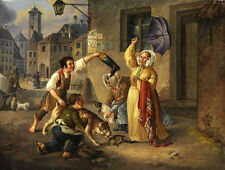Large Oil painting people with their pet dogs in the sunset street on canvas