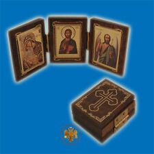 Orthodox Wooden Icon Triptych Gospel Style 4x5cm Orthodoxes Ikonen Triptychon