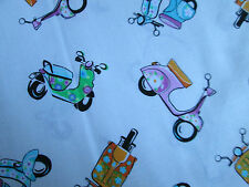 RETRO VESPA SCOOTERS WHITE SCOOTER COTTON FABRIC BTHY