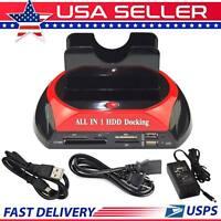 USB 2.0 HDD Docking Station IDE SATA Dual USB Clone Hard Drive Card Reader