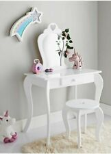 Amelia Vanity Set Dressing Table With Mirror & Stool Children Kids Wooden White