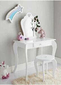 Amelia Vanity Set Dressing Table With Mirror & Stool Children Kids Wooden White