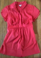 A Pea In The Pod Short Sleeve Button Front Blouse Maternity Medium Red-Orange