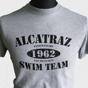 Alcatraz Swim Team T Shirt Escape From Island Prison 1962 Cool Fun Retro Grey