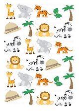 26 icing cupcake cake toppers decorations edible Safari Animals Zoo Lion Zebra