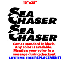 "PAIR OF 10"" X 28"" SEA CHASER BOAT HULL DECALS MARINE GRADE. YOUR COLOR CHOICE.08"