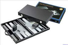 Backgammon Kunstlederkoffer large Inlett grau Tavla Tavli Brettspiel