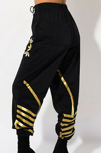 WOMENS ADIDAS ORIGINALS LARGE LOGO TRACKPANTS BOTTOMS BLACK/GOLD NEW UK 12, 14