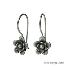 97-99% Fine Silver Hill Tribe 30mmx12mm Flower Dangle Drop Handcrafted Earrings