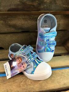 Girls Disney Frozen Light Blue Canvas Shoes Pumps Trainers Free P&P
