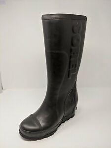 SOREL JOAN RAIN WEDGE TALL BLACK US WOMEN 9.5 EU 40.5 RAIN BOOTS