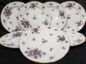 """(8) ROSSETTI CHICAGO U.S.A. SPRING VIOLETS SALAD PLATES 8"""" HAND PAINTED JAPAN"""