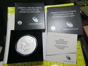 AMERICA THE BEAUTIFUL ATB 5 OZ 999 FINE SILVER 2014 GREAT SMOKY MOUNTAINS 🌈⭐🌈