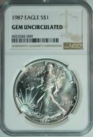 1987 American Silver Eagle Dollar $1 / .999 Pure / NGC GEM BU 🇺🇸  2nd Year