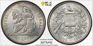 PCGS Guatemala 1894 H Heaton Mint Un Peso Seated Liberty Silver Coin AU58