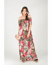 Lady multi color floral leopard print Off shoulder Maxi dress holiday beach wear