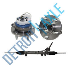 3 pc Set: Power Steering Rack and Pinion + 2 Wheel Hub Bearing Assembly - FWD