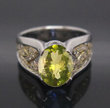 14KT Solid White Gold Oval Cut Natural Peridot 1.50CT EGL Certified Diamond Ring