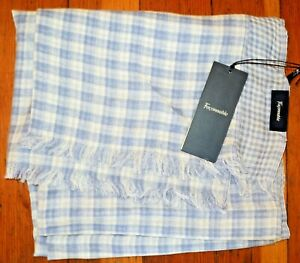 """NWT Lightweight FACONNABLE Blue White CHECK Cotton Woven SHAWL 21x80"""" REVERSIBLE"""