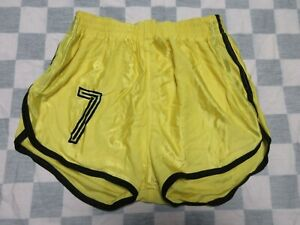 Short MD SPORTS n°7 nylon polyamide années 80 jaune made in France 95
