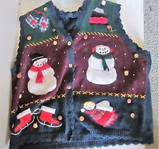 Ugly Christmas Sweater Blue Snowman Vest