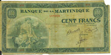 Banque De La Martinique 1942 100 Francs Cent French Colony P-19 VG Very RARE