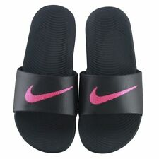 6c54af87b Womens Nike Kawa Slides Black Hot Pink Vivid Pink White 834588 060 Sandals