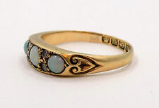 Antique 18k Solid Yellow Gold Opal & Diamond Ring ~ Sz 6 3/4 ~ English Hallmarks