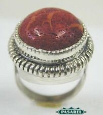 Sterling Silver Sponge Coral Designer Ring Size 8