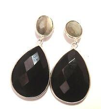 Sterling Silver Natural Laboradite & Black Onyx Earrings