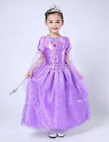 New Rapunzel Tangled Tall Girl's Fancy Dress Disney Cartoon Costume Gift Cosplay