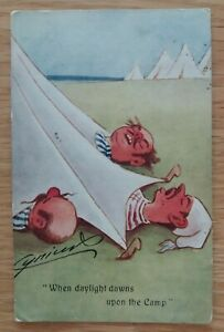 """Vintage Cynicus 1909 Postcard """" When  Daylight dawns upon the  Camp"""""""