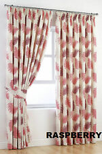"New Raspberry Botanical Garden Pair Of Tape Top Lined Curtains W46 X 90"" Drop"