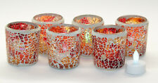 ELAMBIA Flammenlose Farbwechselnde Teelichter 6 Mosaikgläser 12-tlg. Rot Orange