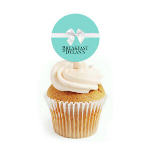 12 Breakfast at Tiffanys Inspired (Aqua Blue) Cupcake Toppers Personalized Party