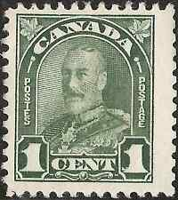 UN-USED 1930 CANADA King George V. STAMP One 1 cent GREEN Arch Issue