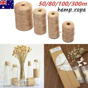 Natural Hemp Linen Cord Twisted Burlap Jute Twine Rope String DIY Craft Decor