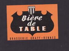 Ancienne étiquette Bière France BN31746 Alcool Brasserie  Graff Rennes