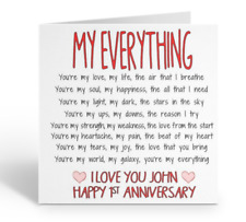 PERSONALISED HUSBAND HAPPY ANNIVERSARY CARD LOVE 1ST 2ND 5TH 10TH 15TH 20TH 30TH