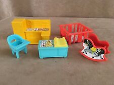Nursery lot Vintage Fisher Price Little People play pen furniture kitchen house