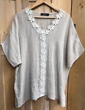 Ladies Q Neel UK Size 22 Beige Linen Tunic Top Loose Summer Lagenlook Boxy