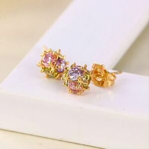 """9ct 9k Yellow """"Gold Filled"""" 7mm Ladies Multicolour Stones Stud Earrings , Gift"""""""