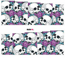 Nail Art Sticker Water Decals Transfers Halloween Skulls Roses (DC249)