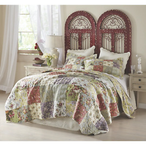 COZY COUNTRY CHIC SHABBY PATCHWORK IVORY WHITE PINK BLUE ROSE GREEN QUILT SET