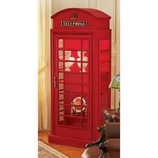 British Red Public Telephone Box Phone Booth Replica Collector Cabinet