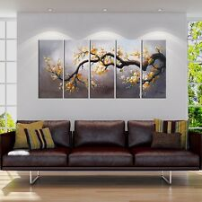 Plum Blossom Painting Japanese Inspired Wall Art Hand Painted Canvas 5 Panel New