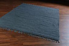 Baumwollteppich Handwebteppich Teppich Wohnzimmer Fransen 140x200 FRANKEN Grau