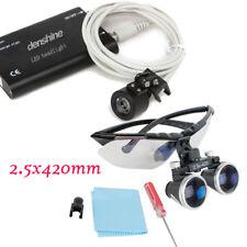2.5X 420mm Dental Surgical Binocular Loupes Glasses Magnifier Kit LED Head Light