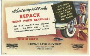 Vtg Chevrolet Original IN Dealer Service Reminder REPACK WHEEL BEARINGS Postcard