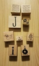 Stamp lot 9 pieces wood mounted mostly Stampin' Up